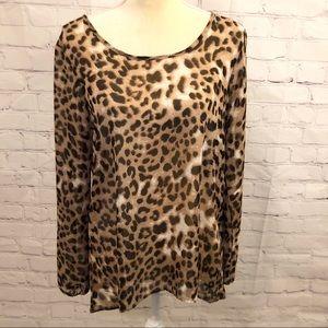 Charming Charlie leopard print long sleeve blouse